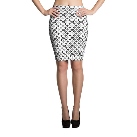 "Louis Trez ""Black & White"" by Street Jammz - Pencil Skirt"