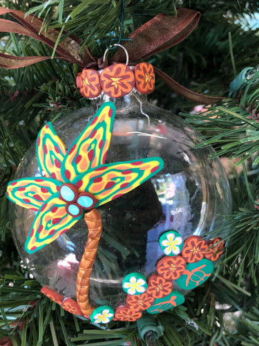 Coconut tree by the sea ornament