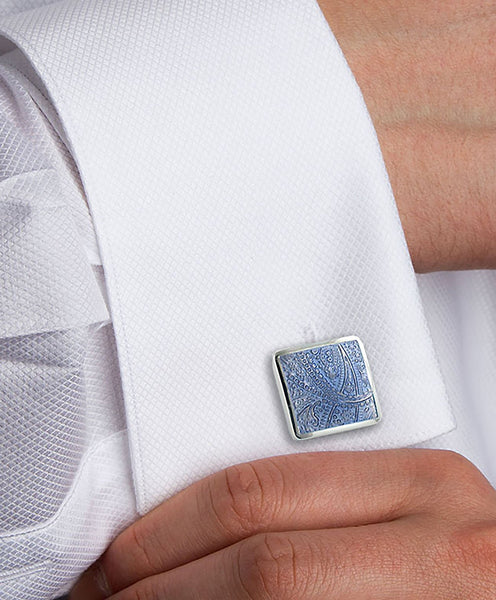 COLLAR AND CUFFS LONDON Blue and White Colours Classic Fashion Design Premium Cufflinks with Presentation Gift Box Half Barrel Dual Colour Including Mother of Pearl