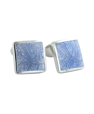 Sterling Silver Paisley Light Blue Cufflinks