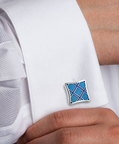 Sterling Silver Plaid Light Blue & Blue Cufflinks