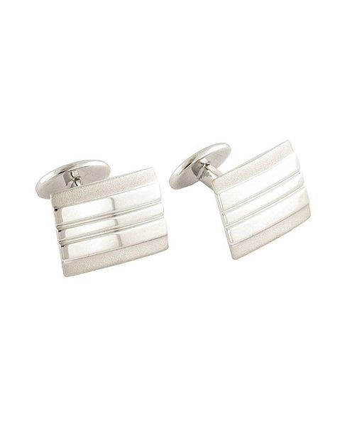 CL063102 | Sterling Silver Lined Rectangle Cufflinks