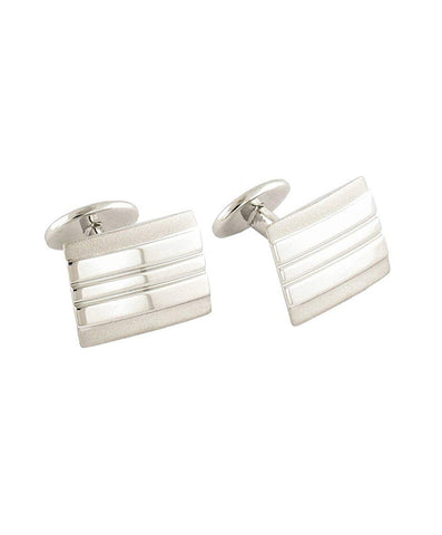 Sterling Silver Lined Rectangle Cufflinks