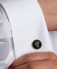 Sterling Silver Blue Dime Cufflinks