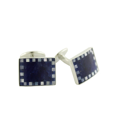 Sodalite and Mother of Pearl Sterling Silver Cufflinks