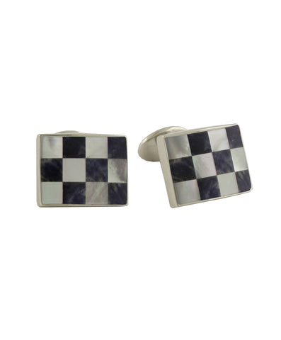 Sodalite and Mother of Pearl Checkerboard Cufflinks