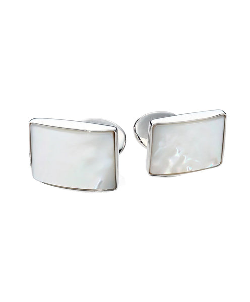 silver cufflinks with mother of pearl