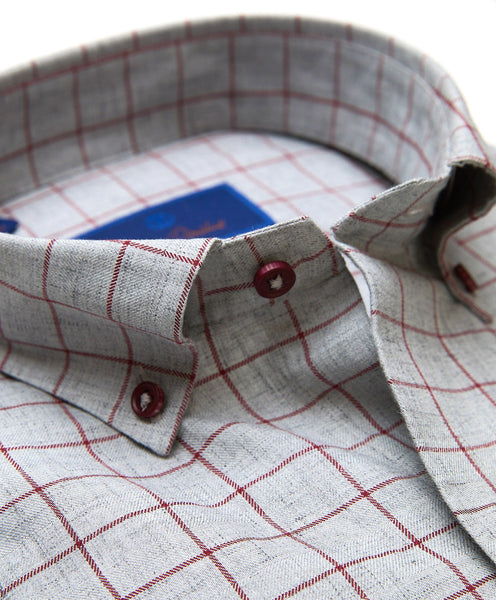 CMBD01808010 | Charcoal & Merlot Heathered Check Sport Shirt