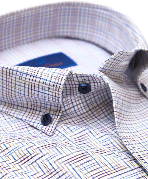 CMBD01814125 | White & Gray Tattersall Plaid Sport Shirt