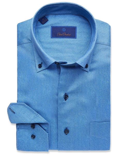 CMCBD2109454 | Sky Blue Oxford Print Sport Shirt