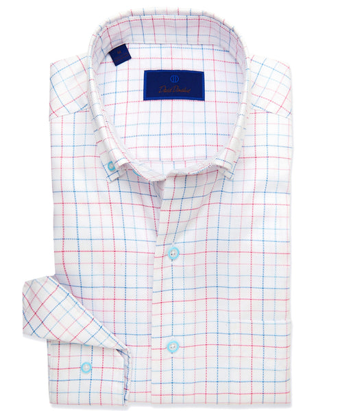 CMCBD3647138 | White & Seafoam Ground Tattersal Sport Shirt