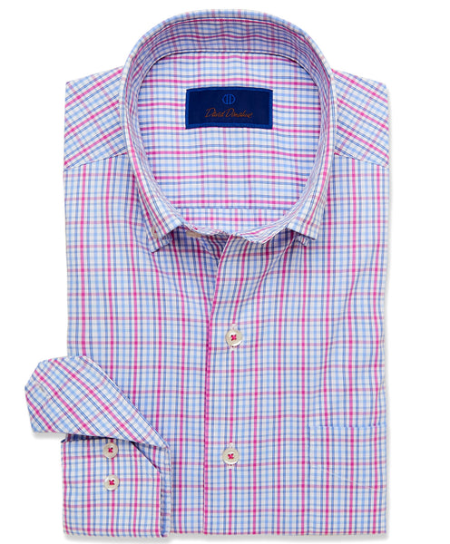 CMCBD3650144 | White & Berry Plaid Performance Sport Shirt