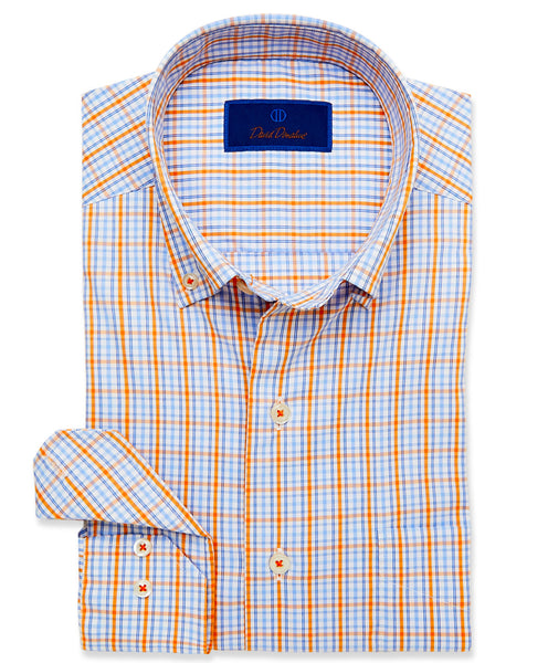 CMCBD3650180 | White & Melon Plaid Performance Sport Shirt