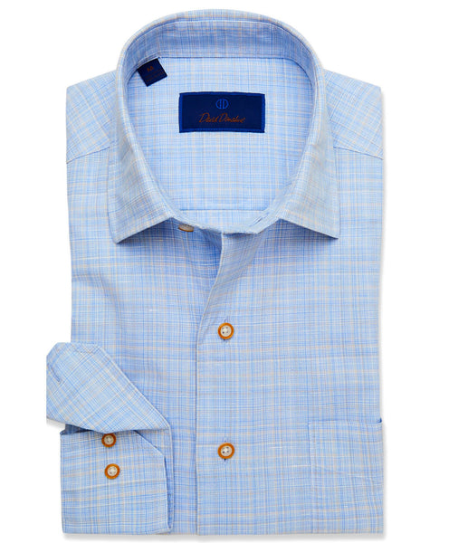 CMCSM3640428 | Blue & Tan Plaid Blend Sport Shirt