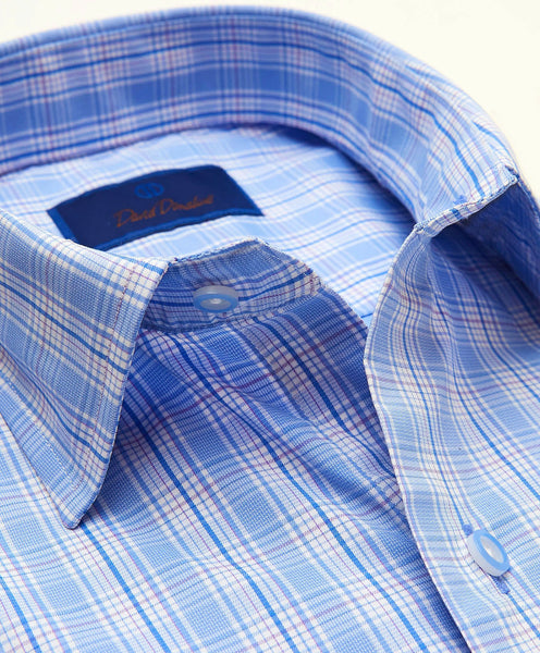CMCSM3652479 | Blue & Lilac Plaid Performance Sport Shirt