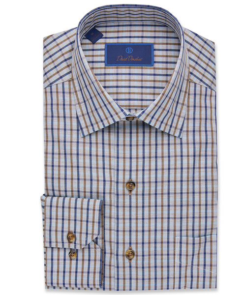 Mélange Plaid Basketweave Sport Shirt