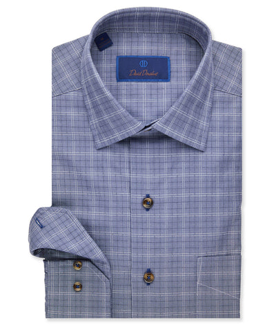 Garment Washed Textured Check Sport Shirt
