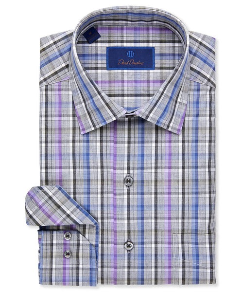 Melange Ground Bold Plaid Sport Shirt