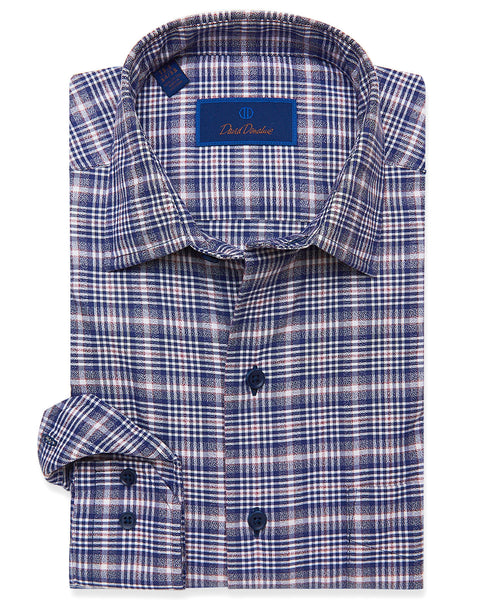 CMSM01809412 | Navy Heathered Plaid Sport Shirt