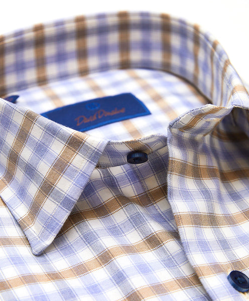 CMSM01811421 | Blue & Brown Tonal Check Sport Shirt