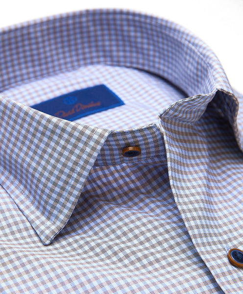 CMSM01837421 | Blue & Chocolate Mini Check Performance Sport Shirt