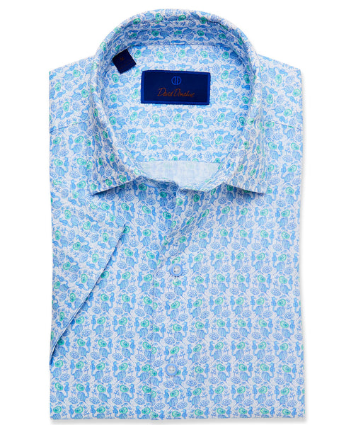 CSHSM3010135 | Blue Seahorse Printed Short Sleeve Sport Shirt