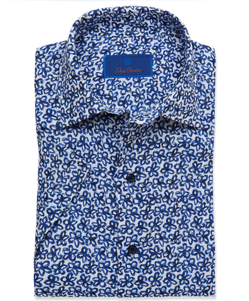 CSHSM3402155 | Navy Floral Short Sleeve Sport Shirt
