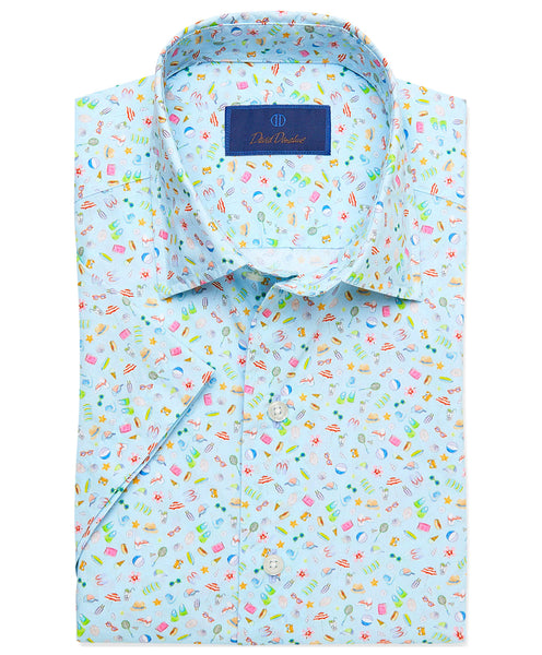 CSSM02009454 | Sky Blue Beach Print Short Sleeve Sport Shirt