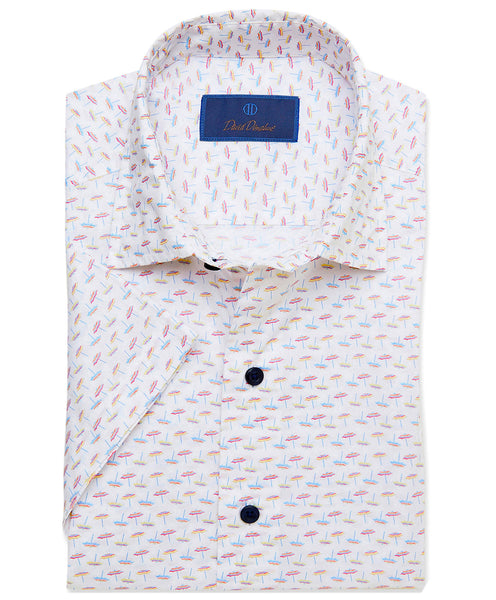 CSSM02011199 | Beach Umbrella Print Short Sleeve Sport Shirt