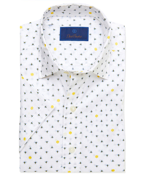 CSSM02012175 | Bee Print Short Sleeve Sport Shirt