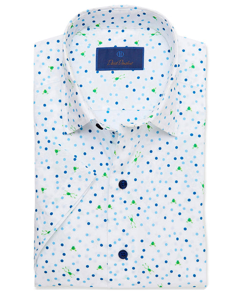 CSSM02309135 | Frog & Dot Print Short Sleeve Sport Shirt