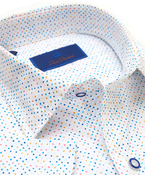 CSSM02310135 | Multi Color Dot Print Short Sleeve Sport Shirt