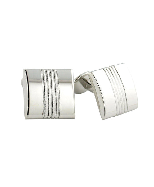 H95014602 | Striped Sterling Silver Square Cufflinks