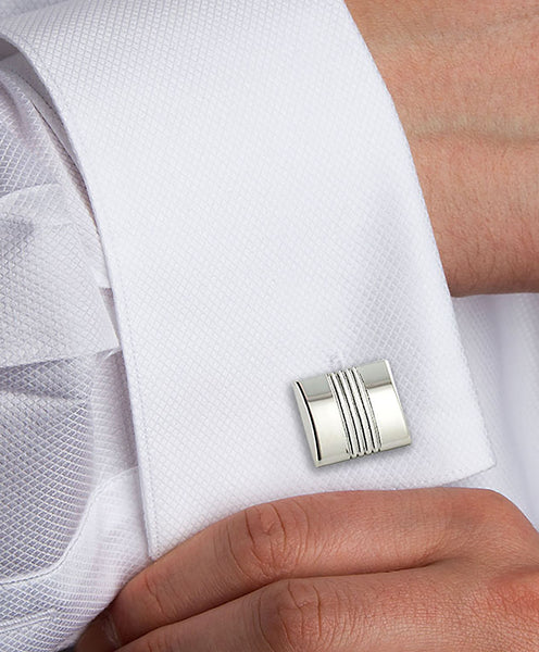 Sterling Silver Two Tone Square Cufflinks
