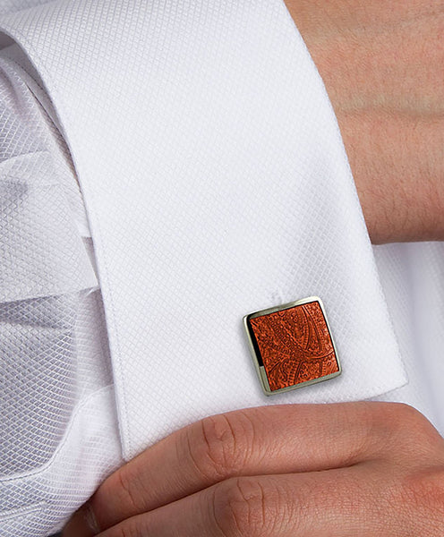 H95030002 | Sterling Silve Orange Paisley Cufflinks