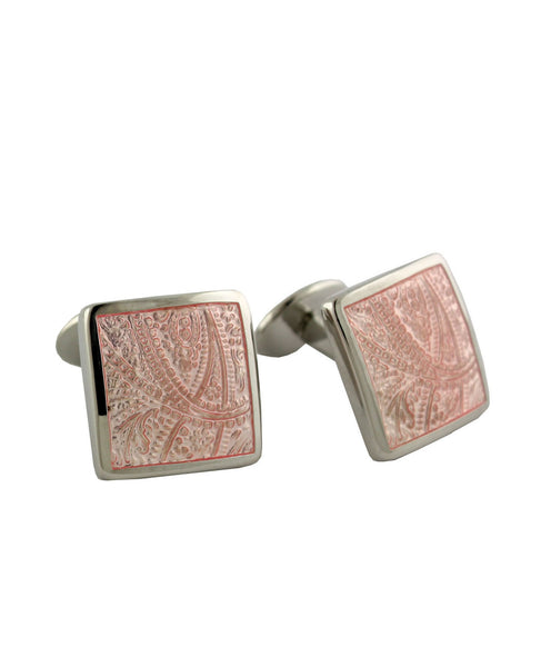 Sterling Silver Paisley Pink Cufflinks