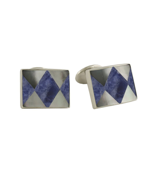 H95549402 | Sodalite and Mother of Pearl Diamond Sterling Silver Cufflinks
