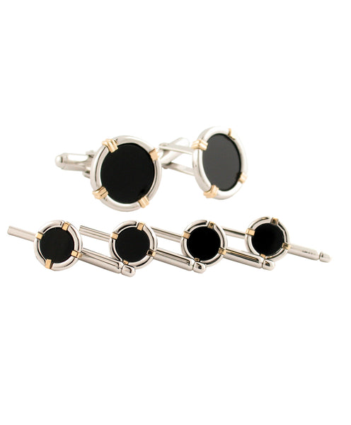 Sterling Silver & 14KT Gold Wire Onyx Stud Set