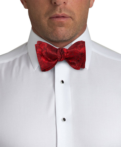 HT2495600 | Red Floral Self-tie Bow Tie