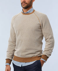 Cotton Oxford Knit Raglan Sweater