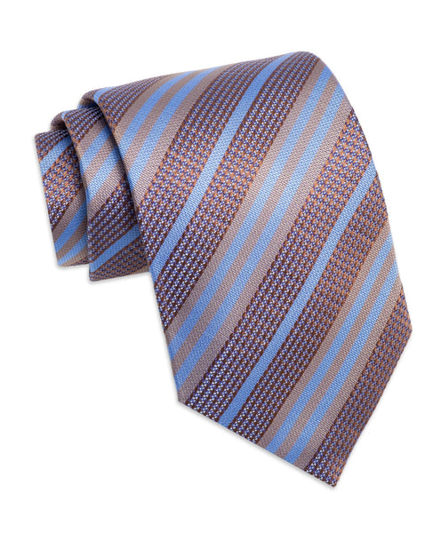 NTR2991212 | Chocolate Multi-Striped Silk Neck Tie