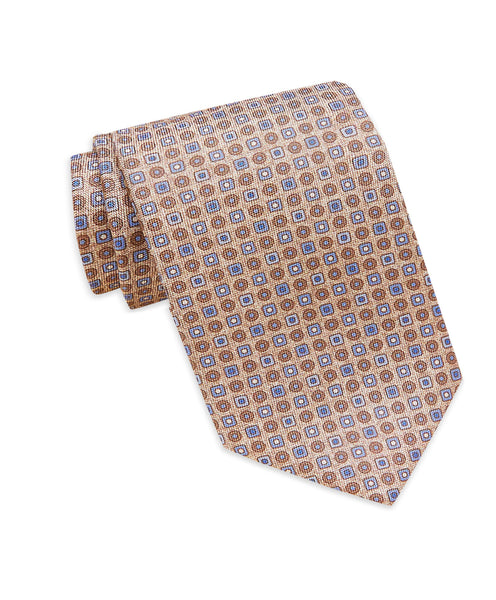 NTR3297423 | Blue & Tan Printed Neat Tie