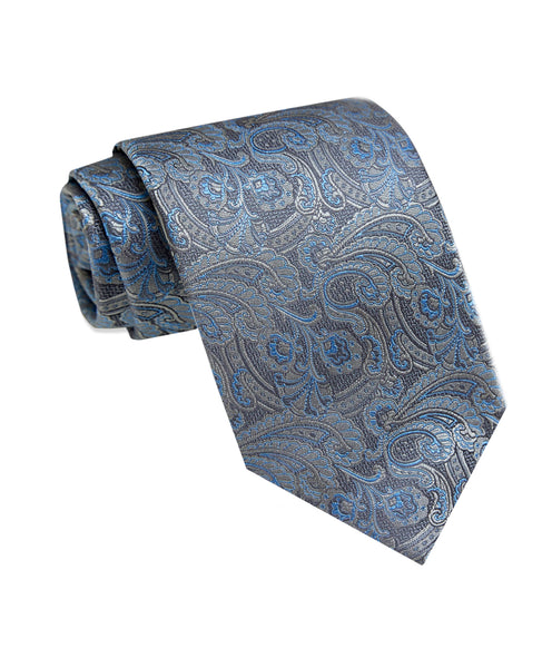 NTR3578010 | Charcoal Textured Paisley Silk Neck Tie