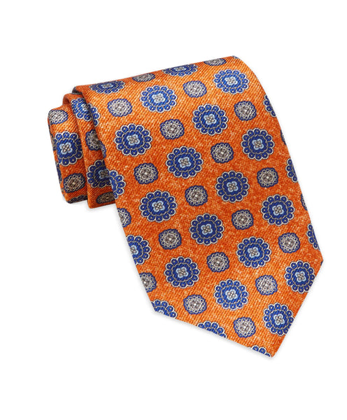 NTR3794814 | Orange Floral Medallion Printed Tie