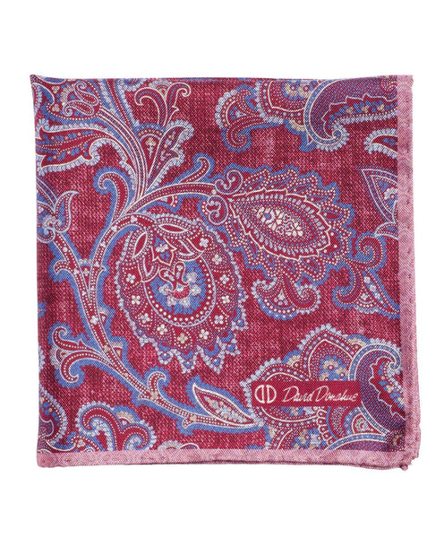PS2582652 | Berry Paisley Silk Pocket Square