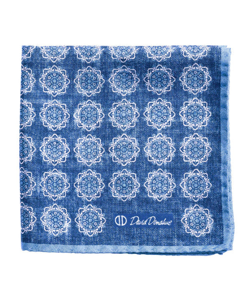 PS2789423 | Blue Medallion Silk Pocket Square