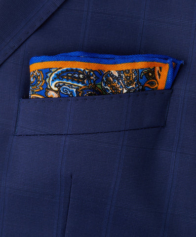 Orange Paisley Pocket Square