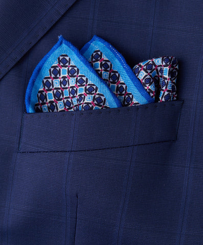 Blue Diamond Pocket Square
