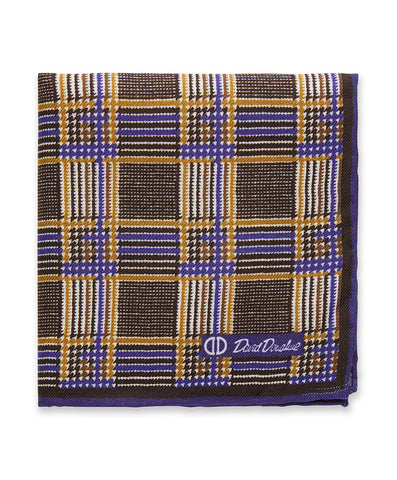 Chocolate Houndstooth Pocket Square
