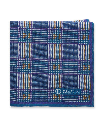 Blue Houndstooth Pocket Square